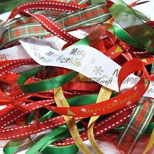 10 X 1 Metre Bundle of Mixed Ribbon off Cuts Xmas Gift Wrapping Arts and Crafts Christmas Theme