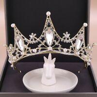 Vintage Luxury Baroque Crown Rhinestone Crystal Queen Tiara Bridal Hair Jewelry