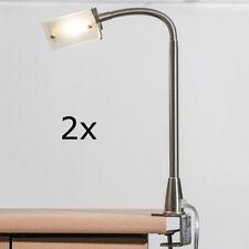 LED Klemmleuchte mit Schraubfuß 2er Set 4,9W Klemmlampe Büro Schreibtisch silber