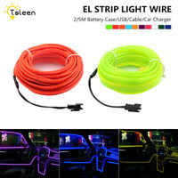 Portable EL Wire LED Neon Grow Light 6.6/16.4ft Waterproof With Power Inverter