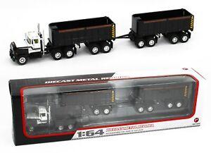 First Gear DCP 1:64 *BLACK & WHITE* MACK R Semi Truck w/DUMP TRAILER PUPS *NIB*