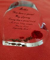Lucite BIRCRAFT ORIGINALS Red ROSE HEART PAPERWEIGHT MOTHERS DAY Hand Carved