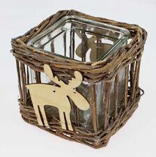 Korb - Windlicht Rentier natur neu Deko Geschenk Teelichthalter