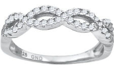 White Gold Finish Sterling Silver Braidal Infinity Lab/Simulated Diamond Ring