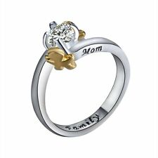 "Lettering ""Family Mom"" Size 7 Gold Boy & Girl CZ Elegant Silver/Gold Ring Gifts"