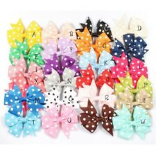 "30pcs 3"" Dovetail Grosgrain Dot Ribbon Kids Hair Bows Hair Accessories no clips"