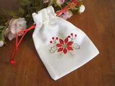 Lovely X'mas Red Flower Embroidery Draw String White Bag Pouch A