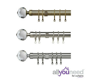 25-28mm Metal Extendable Pristine Crystal Curtain Pole Sets Antique Brass,Silver