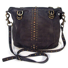 LIEBESKIND BERLIN Authentic Suede Brass Studs Crossbody Zip Hobo Shoulder Bag