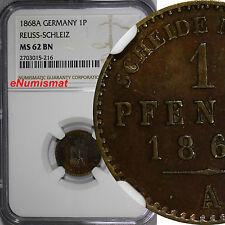 German States REUSS-SCHLEIZ 1868-A 1 Pfennig NGC MS62 BN SCARCE KM# 75