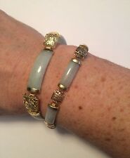 "Two 14K Yellow Gold and Green Apple Jade Bracelets 7.25"" and 7.5""  - APPRAISAL"
