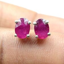 5X4 mm Natural Pink Top Quality Ruby Gem 925 Solid Silver Earring Stud