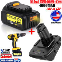2 in1 For Dewalt DCB204-2 20V Battery 4.0Ah + DCA1820 Adapter Converter to 18V