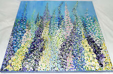 Large Original Art Acrylic Paint Delphiniums Painting Resin Encased Patricia May