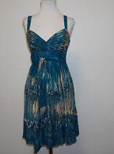 Anthropologie LIL Teal Watercolor Print SILK Dress 4