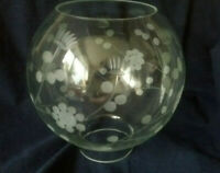 LOVELY VINTAGE  /  ANTIQUE LARGE GLASS FLORAL OIL LAMP GLOBE SHADE