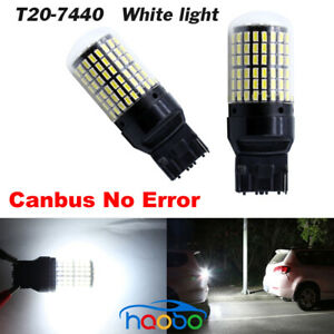 2pc Super Bright T20 7440 W21W 144SMD 3014 LED Canbus Car Turn Signal Lamp white