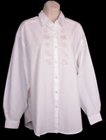 Guess Georges Marciano Shirt XL 4 Vintage 1980's Embroidered Button Front White