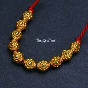 """4.8mmx5.5mm 18k Solid Yellow Gold Fancy Flower Spacer Beads 2.15"""" Strand (10)"""