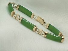 Estate 14K Yellow Green Jade Asian Character Design Bracelet 14kt