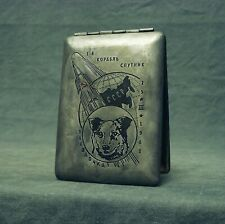 Soviet Russian Space Dog Zvezdochka Cigarette Case Rocket Sputnik 1961 USSR