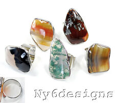 Wholesale Natural Agate Nugget Beads Silver Plated Adjustable Ring 5pcs RI67c