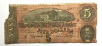 1864 Confederate States of America Richmond 5 Dollars Civil war Banknote