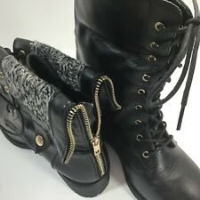 Refresh Dason Combat Boots Womens Black Folding Cuff Sweater Trim Zip Lace-Up 7