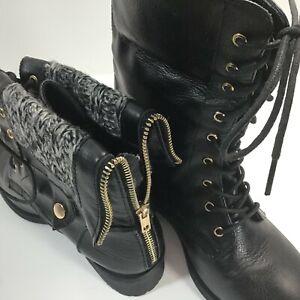 Refresh Dason Combat Boots Womens Black Folding Cuff Sweater Trim Zip Lace-Up 7