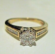 ESTATE 14K YELLOW GOLD & DIAMOND CLUSTER ENGAGEMENT RING