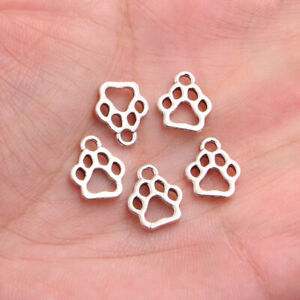 10pcs 13*11mm Animal Pets Dogs Cat Paw Charms Antique Silver Tone Pendant Making