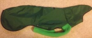 new GREEN WATERPROOF Fleece OUTDOOR DOG COAT for small Greyhound large whippet