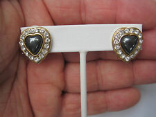 Heart-Shaped Clip Earrings, Hematite Surrounded by Clear Crystals