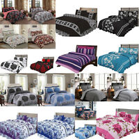 4 Piece Quilt Duvet Cover Bedding Set Cotton Blend + Fitted Sheet & Pillow Cases
