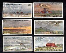 German Coastal Scenes Gartmann Card Set 1900s Fishing Boats Beach Windmill
