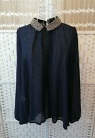 Womens J&L PARIS Navy Blue Long Sleeve Sheer Chiffon Style Blouse Top Size 10-14