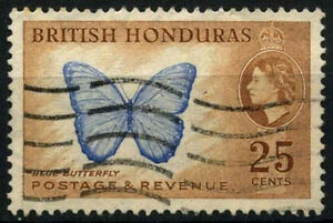 British Honduras 1953-62 SG#186, 25c QEII Butterfly Used #D26695