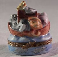 Vintage Limoges Trinket Box Pill Noah's Arch Animals Signed LC