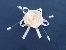 10 BEAUTIFUL PEACH 2.5CM SATIN ROSEBUDS ON SATIN BOW WITH BEADS ref B50