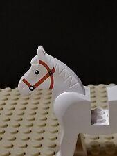 Vintage Lego Castle White Horse Minifigure Brown Tack