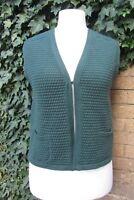 Hakenberg Ladies Dark Green Vintage Pure New Wool Knitted Waistcoat Size Medium