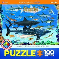 100 Piece Types Of Sharks Puzzle - Eurographics Jigsaw Jigsaws Shark Species