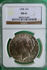 1928 Silver Peace Liberty Dollar $1 United States Coin Graded  MS 61 NGC # R12