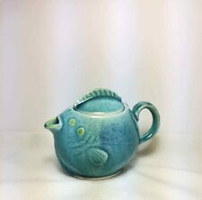 New ListingVintage Pottery Small Fish Teapot Turquoise Crackle Glaze Japan
