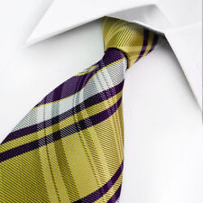 GIFTS FOR MEN Classic Mens Stripe Silk Striped Necktie Tie Purple Yellow White