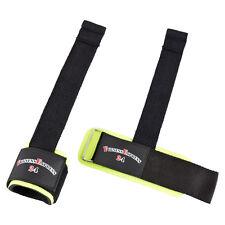 1 Paar Zughilfe Zughilfen Straps mit Bandage / Griffhilfe schwarz/neon NEU