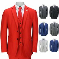 Mens 3 Piece Business Suit Smart Casual Classic Tailored Fit Office Formal