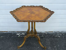 Hand Carved Hexagon Distressed Painted Side Table 1254