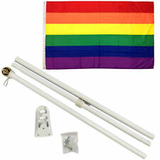3x5 3'x5' Rainbow LGBT Gay Pride Flag White 6ft Pole Kit Gold Ball Top