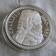 Charles II 1630 - 1685 32mm caracteriza medalla de plata prueba